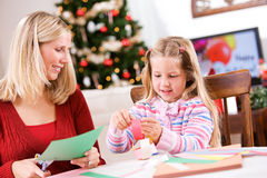 Christmas: Craft Fun For Family Making Paper Chain Stock Photography