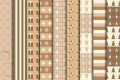 Christmas Craft Seamless Patterns Set. Winter Holidays Papers. Vector Illustration stock illustration