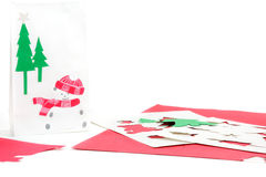 Christmas crafts card and bag Stock Images