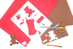 Christmas crafts homemade stencils Stock Photography