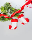 Christmas crafts, Santa Claus boots fleece, handmade Stock Photo