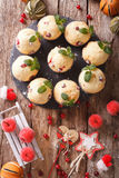 Christmas cranberry muffins decorated with mint closeup. vertica Stock Photography