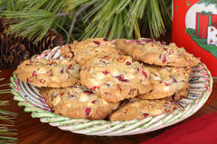 Christmas Cranberry Nut  Cookies Stock Photography