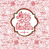 Christmas crd.Doodle pattern background,label Royalty Free Stock Images