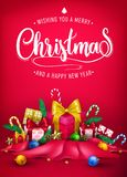 Christmas Creative 3D Realistic Poster Design with Wishing You A Merry Christmas stock illustration