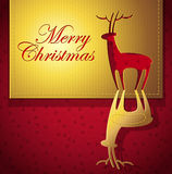 Christmas creative greeting card. Christmas creative design with Christmas deer cut out paper art - vector illustration royalty free illustration
