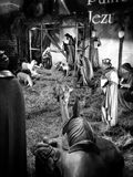 Christmas creche. Artistic look in black and white. Royalty Free Stock Image