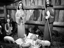 Christmas creche. Artistic look in black and white. Stock Image