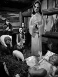 Christmas creche. Artistic look in black and white. Stock Images