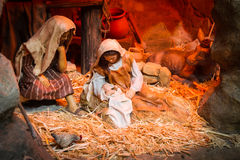 Christmas creche. With Joseph and Mary stock image