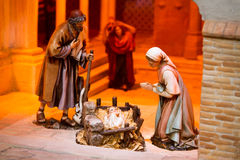 Christmas creche. With Joseph and Mary stock photography