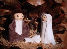 Christmas creche. With Joseph and Mary royalty free stock image