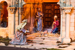 Christmas creche. With a King worshipping god royalty free stock image