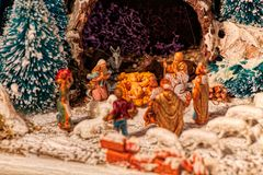 Christmas creche with Saint Joseph and Blessed Virgin Mary. Christmas creche with Baby Jesus, Saint Joseph and Blessed Virgin Mary and the ox and the donkey and stock photos