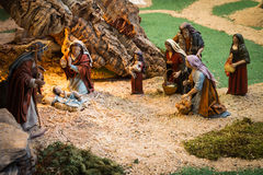 Christmas creche. With women worshipping god royalty free stock photos