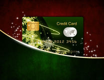 Christmas credit card in red envelope  over white Royalty Free Stock Images