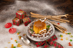 Christmas creme caramel with decoration Stock Photos