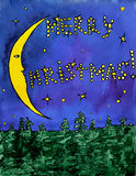 Christmas crescent in the night forest - vectror watercolor painting. Christmas crescent and stars in the night winter forest - vectror watercolor illustration stock illustration