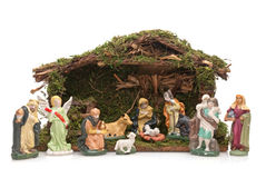 Christmas Crib. Isolated on white background Royalty Free Stock Photo