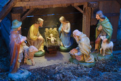Christmas crib. With child jesus, josef and mary in stable at bethlehem Royalty Free Stock Photo