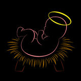 Christmas Crib Baby Jesus Black. Newborn Christ Child with a halo lying on straw in a chreche. Isolated outline vector illustration on black background Royalty Free Stock Images