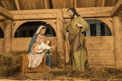 Christmas crib with child Jesus, father Josef and virgin Mary Royalty Free Stock Image