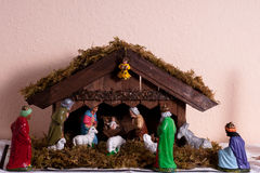 Christmas crib with christi bearth Stock Photo