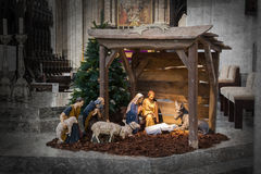 Christmas crib, before Christmas. The crib is empty Royalty Free Stock Images