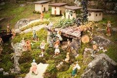 Christmas Crib. Figures of Baby Jesus, Virgin Mary Stock Photo