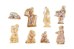 Christmas crib. Handmade gingerbread christmas characters isolated on a white background Royalty Free Stock Photos