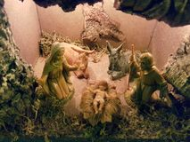 Christmas crib in italian house. Christmas crib. the nativity with jesus, giuseppe and maria Royalty Free Stock Photo