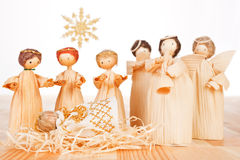Christmas crib. Light wooden concept. Stock Photos