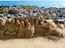Christmas crib made of sand Stock Photos
