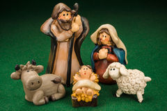 Christmas Crib. Miniature Models Christmas Crib Nativity Scene Photo Stock Photo