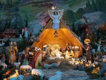 Christmas crib. Traditional Christmas crib figures representing Holy Family, three wisemen, shepherds and animals Stock Photos
