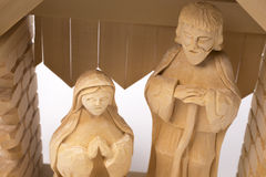 Christmas crib. Wooden hand made Christmas crib Royalty Free Stock Images