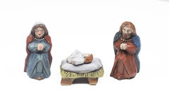 Christmas crib. Wooden christmas crib isolated on a white background Stock Images