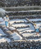 Christmas crip at the public place in Yaiza. The Christmas crip in Yaiza shows scenes of the daily life, such as labourers in the salt works of Lanzarote Royalty Free Stock Image
