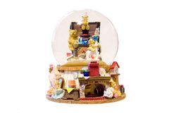 Christmas critters. A display of christmas characters in water filled globe Stock Photo