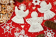 Christmas Crochet Decorations Royalty Free Stock Photos