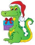 Christmas crocodile theme image 1. Vector illustration Stock Images