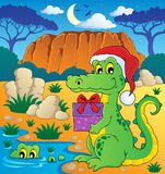 Christmas crocodile theme image 2. Vector illustration Royalty Free Stock Images