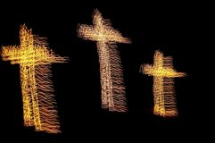 Christmas cross lights Stock Photography