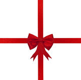 Christmas cross red ribbon and bow Royalty Free Stock Photos
