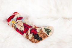 Christmas cross stitch stocking Royalty Free Stock Photography