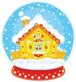 Christmas crystal ball with a snow-covered hut Royalty Free Stock Photo