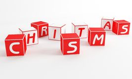 Christmas Cube. Letter like toys in red and white Royalty Free Stock Photo