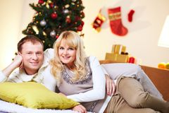 Christmas cuddlers Royalty Free Stock Image