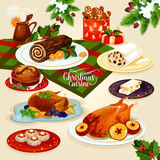 Christmas cuisine dinner for festive menu design. Christmas cuisine festive dinner. Christmas table with turkey and goose, chocolate cake, mulled wine Royalty Free Stock Photography