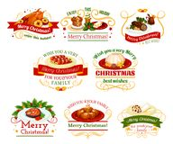 Christmas cuisine dinner badge for New Year design. Christmas cuisine festive dinner dishes badge. Xmas pudding, turkey and fruit cake, grilled fish, sausage in Stock Images